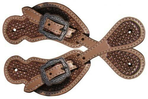 NEW HORSE TACK!! Showman YOUTH Size Basket Weave Tooled Leather Spur Straps!