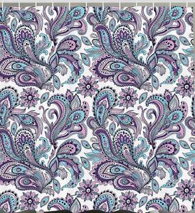 paisley floral flower fabric shower curtain purple teal blue art bathroom decor ebay. Black Bedroom Furniture Sets. Home Design Ideas