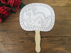 12Pcs-White-Paper-Hand-Fans-for-Kid-Drawing-Dragon