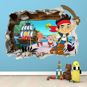 JAKE-AND-THE-NEVERLAND-PIRATES-SMASHED-WALL-STICKER-BEDROOM-VINYL-WALL-ART