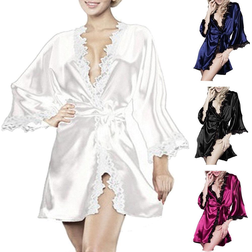 Women Sexy Lace Lingerie Silk Dress Gown Bath Robe Babydoll Nightwear Nightdress