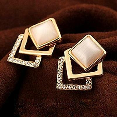 WO AU Fashion Cute Square Rhinestone beauty ear stud earrings