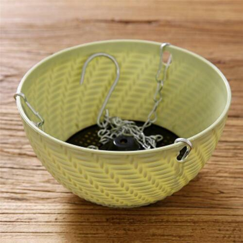 Rattan Woven Resin Hanging Basket Flower Vase Planter Hook Pot Home Garden Decor
