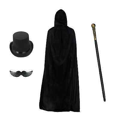 Men/'s Halloween Steampunk Set Top Hat, Cane, Cape//Cloak /& Stick-On Moustache