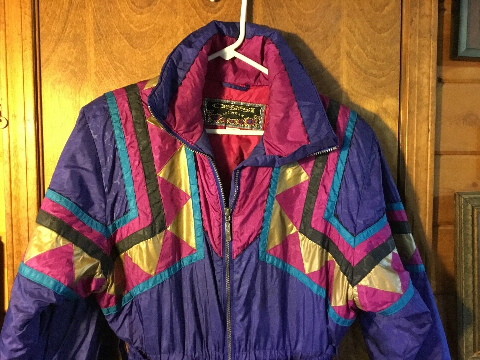 Vintage Ossi skiwear womens sz 8 one piece ski suit purple gold 80s-90s