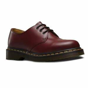 cb6421d8744 Details about Dr Martens Cherry Red 3 Eyelet 1461 Mens Shoe with Contrast  Yellow Stitching