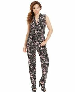 c161db6cbc88 Image is loading Marilyn-Monroe-Juniors-Printed-Surplice-Jumpsuit -Black-Pink-
