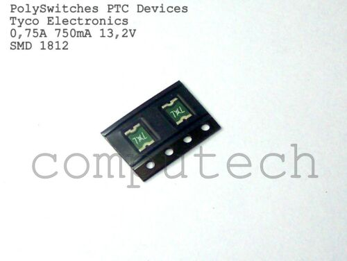 0.75A 13,2Vdc Fusibili Ripristinabili PTC Package 1812 SMDC075F  5 pezzi