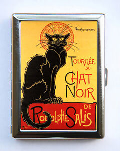 Details about le chat noir cigarette case id case wallet business card holder french cat image is loading le chat noir cigarette case id case wallet reheart Images