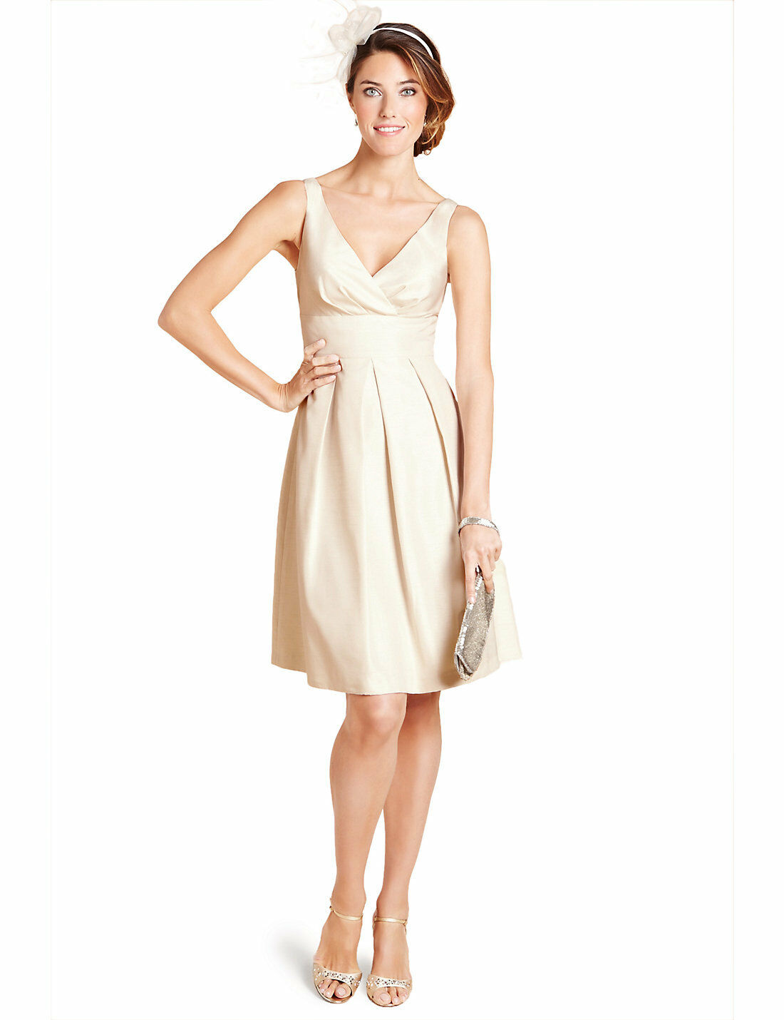New M&S Woman Occasion Cream Pleated Fit & Flare Belted Dress Sz