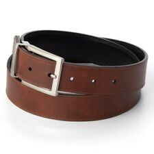 Croft /& Barrow Big and Tall Belt Brown//Black Reversible Silver Buckle NWT 46 48