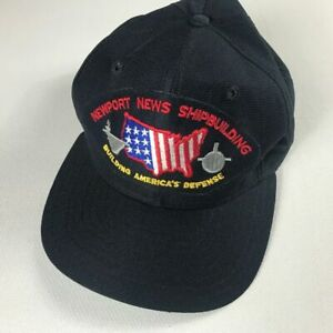 Newport News Shipbuilding Snapback Hat VTG Cap America's Defense USA Made Blue
