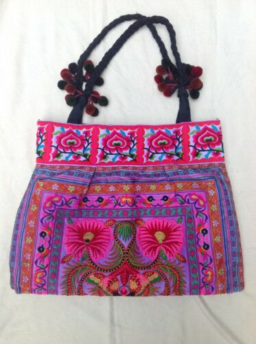 Traditional Embroidered Pink Thailand FloralPompoms TotebagColorful Handmade YDHIeWE29