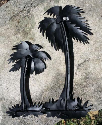 """Las Palmas Metal Handmade Painted Wall Art Mexican 2 Palm Trees 16/""""x12/"""" 425"""