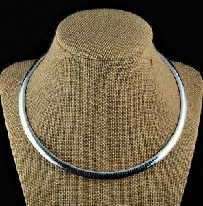 6mm-Solid-925-Sterling-Silver-Domed-Omega-Collar-Choker-Chain-Necklace-16-18-20