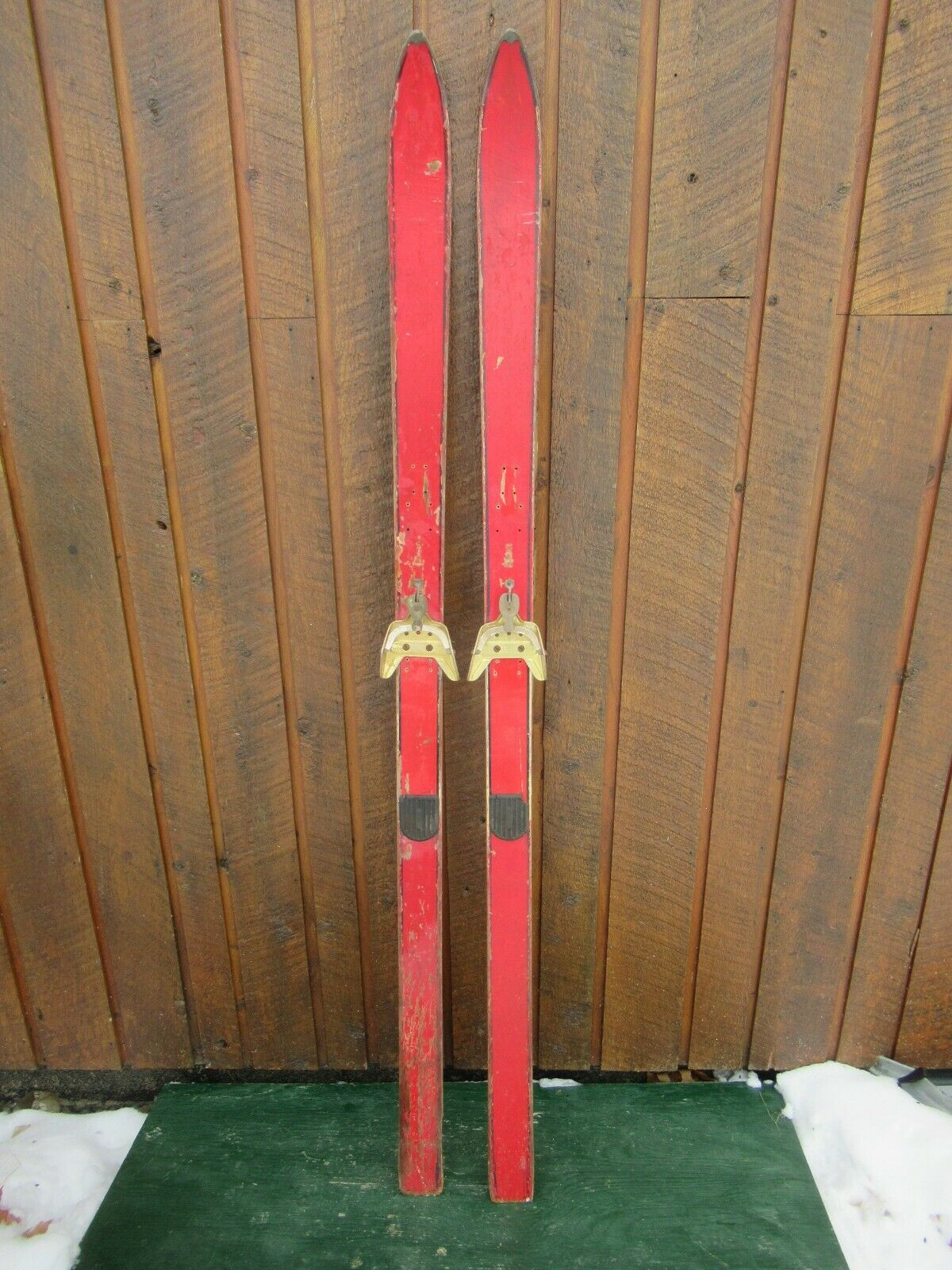 Vintage Wooden 64  Skis OLD rot Finish with Metal Bindings
