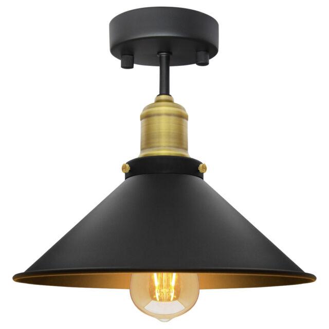 Modern Vintage Flush Mount Br Black Scone Ceiling Light Shade M010
