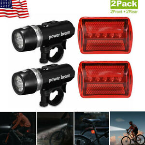 Waterproof 5 LEDs Lamp Bike Bicycle Front Head Light /& Rear Safety Flashlight US