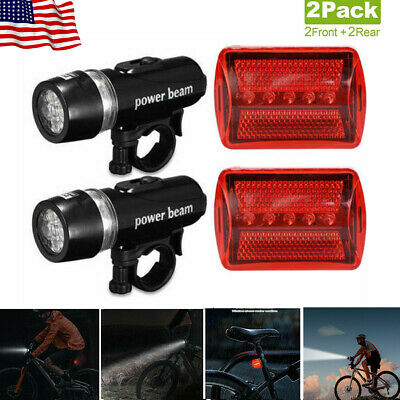 2 Front /& Rear 5 LED Bicycle Bike Light Set Cycle Lights Visibility Safety Red