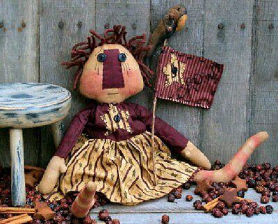 PATTERN Primitive Americana Raggedy Ann Doll w// Stitchery Flag Ornie UNCUT