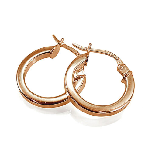 Rose Gold Flash Silver Polished Round Square-Tube /& Oval Hoop Earrings Set of 3