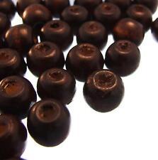 100 ROUND WOODEN BEADS Dark Brown 12mm Natural Wood