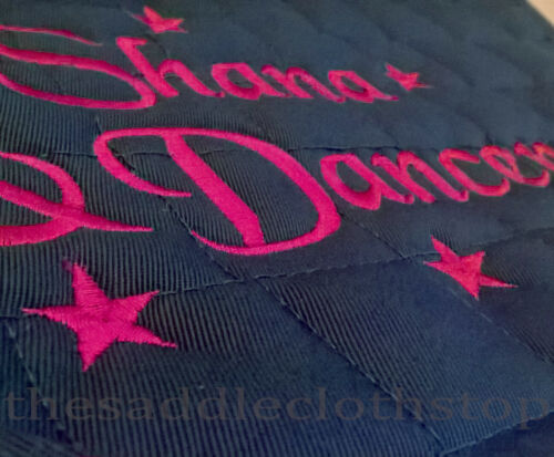 Personalised Embroidered Saddle Cloth with small stars,3 sizes,11 colours,numnah