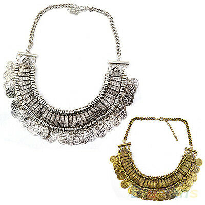 Elegant Women Vintage Coins Pendant Statement Bib Charm Choker Necklace Jewelry