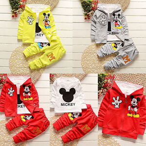 dfe8633a38db 3pcs Newborn Baby Kids Mickey Mouse Hoodie Coat+T shirt+Pants Outfit ...
