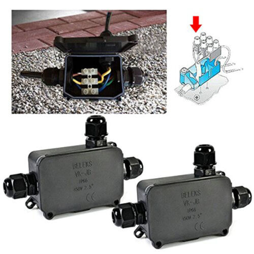 2PCS Cover Junction Plastic Enclosure Cable Connect Box Outdoor Waterproof New