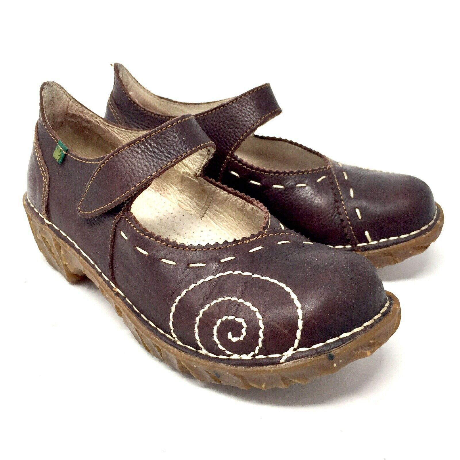 El Naturalista Mary Jane Yggdrasil Brown Stitched Clogs Women's 36 US 6 - 6.5
