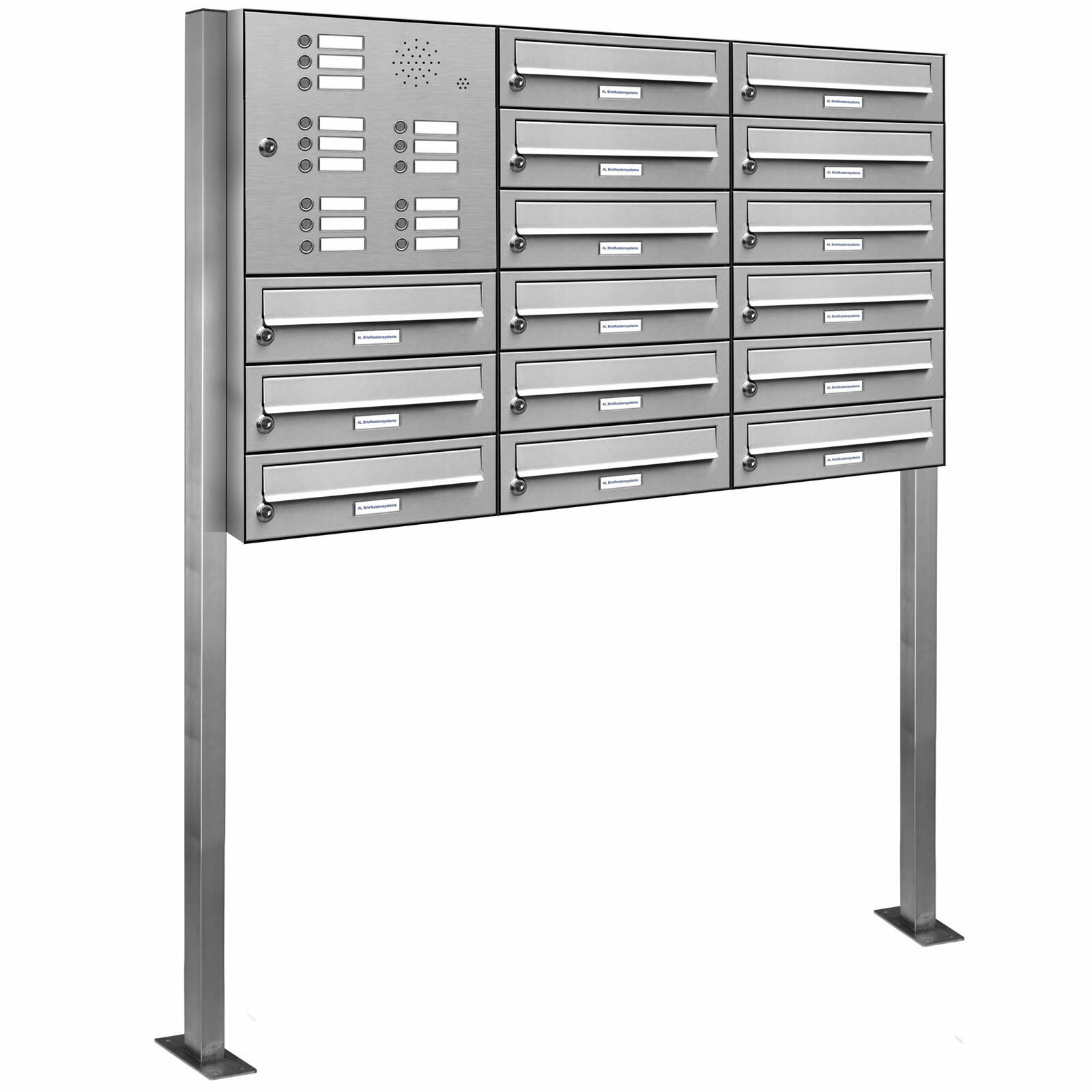 15 er Premium V2A Edelstahl Stand Briefkasten Anlage Klingel Postkasten 3x6