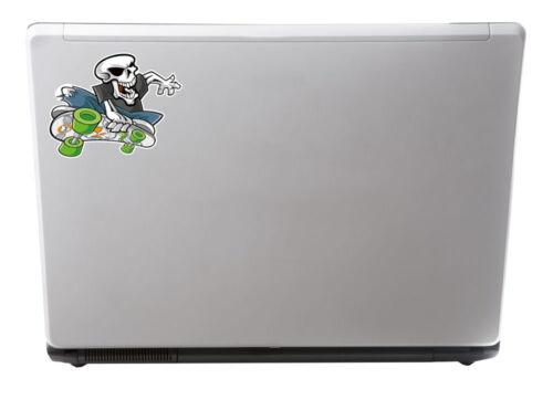 2 x Glossy Vinyl Stickers Skater Skull iPad Skateboard Fun Laptop Decal #4009