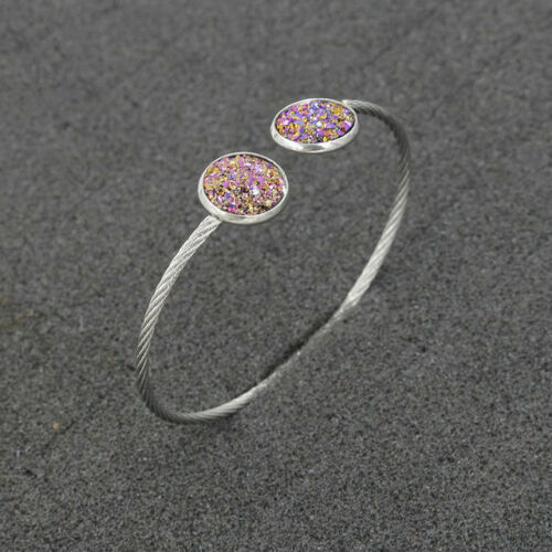 Women/'s 12mm 31Colors Druzy Crystals Stainless Steel Cuff Bangle