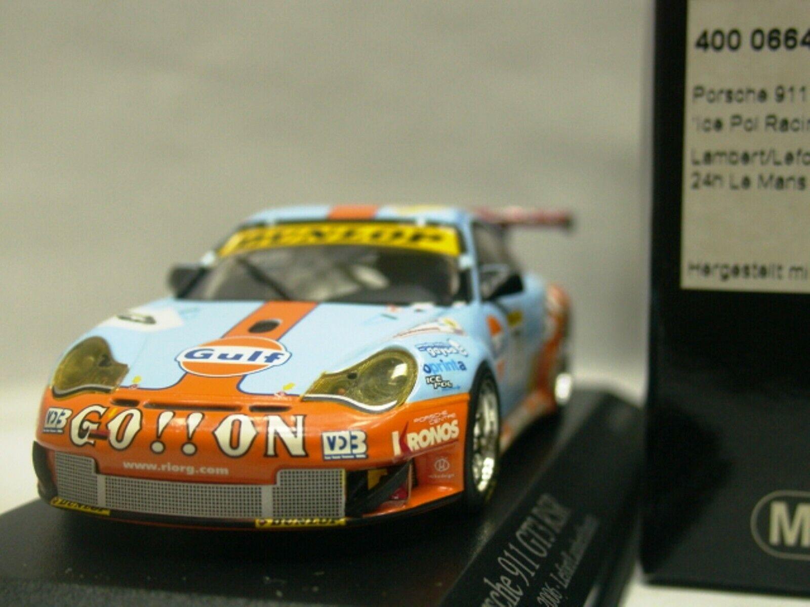 Wow extrêmement rare Porsche 996 911 GT3 RSR  73 Gulf Le Mans 2006 1 43 Minichamps