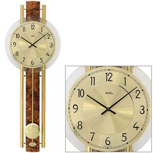 AMS-Cuarzo-Reloj-De-Pendulo-De-Reloj-De-Pared-Diseno-De-Cuero-Sintetico