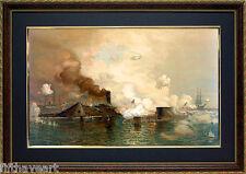 Civil War Art, Hampton Roads Battle of the Ironclads Monitor vs Merrimack