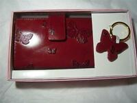 Embossed Butterfly Genuine Leather Credit Card Wallet