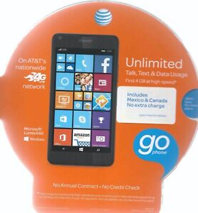 8GB-Black-Microsoft-Lumia-640-AT-amp-T-Go-Phone-In-Original-Box-No-Contract-AS-IS