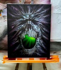 034-Snowflake-034-Original-airbrush-art-on-canvas-Stretchy-Skull-Skeleton