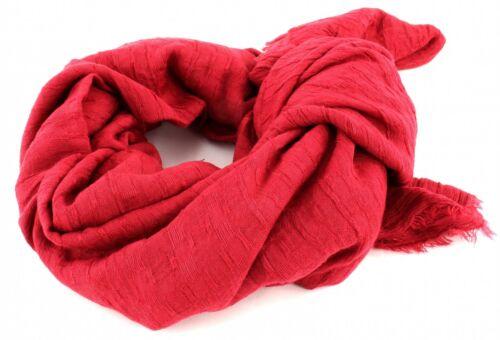ESPRIT Solid Stripe Scarf Schal Tuch Accessoire Berry Red Rot Neu