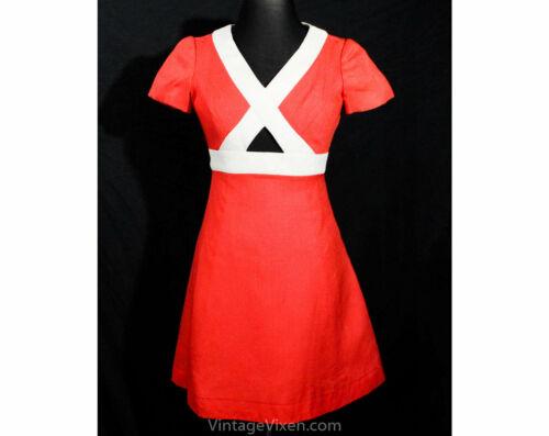Size 6 Coral Linen Dress - Posh Designer 60s Short