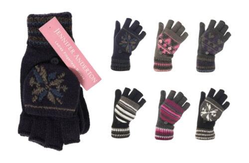 1 Pair Ladies Thermal JA Fancy Mitten Cap Fingerless Full Gloves B//W Snowflake