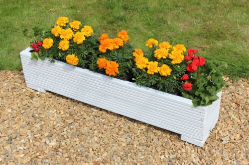 cm White 100x22x23 Wooden Garden Trough Planter or Plant Pots