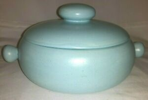 Vintage Hand-crafted Ceramic Soup Serving Bowl W/Lid, Turquoise Finish, Signed