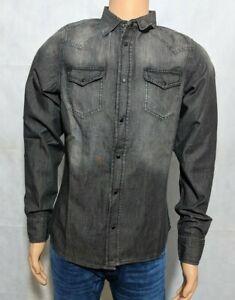 Diesel-Men-039-s-New-Sonora-RWAKK-Dark-Grey-Charcoal-Denim-Faded-Shirt-S-M-L-XL-XXL