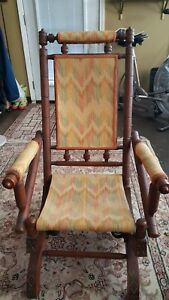 Antique-Eastlake-Victorian-Turned-Walnut-Gold-Material-Rocking-Chair