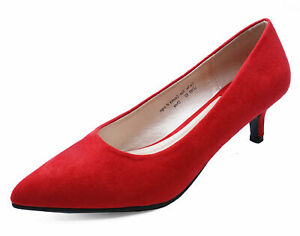 LADIES-RED-SLIP-ON-KITTEN-LOW-HEEL-SMART-WORK-CASUAL-COMFY-COURT-SHOES-SIZES-3-9