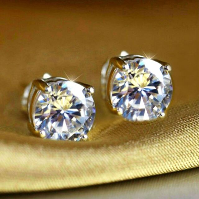 Men's Women's sim diamond 18K white gold filled 6mm stud earrings, gift  /UK