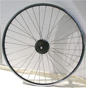 Hinterrad-28-Zoll-schwarz-Laufrad-m-Shimano-Zahnkranz-7fach-Hohlkammerfelge
